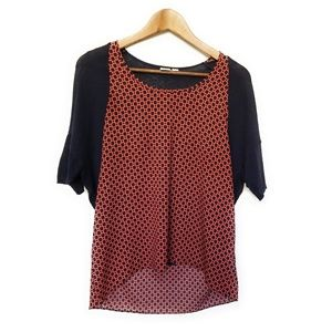 ANTHROPOLOGIE Geometric Print T Shirt Batwing M